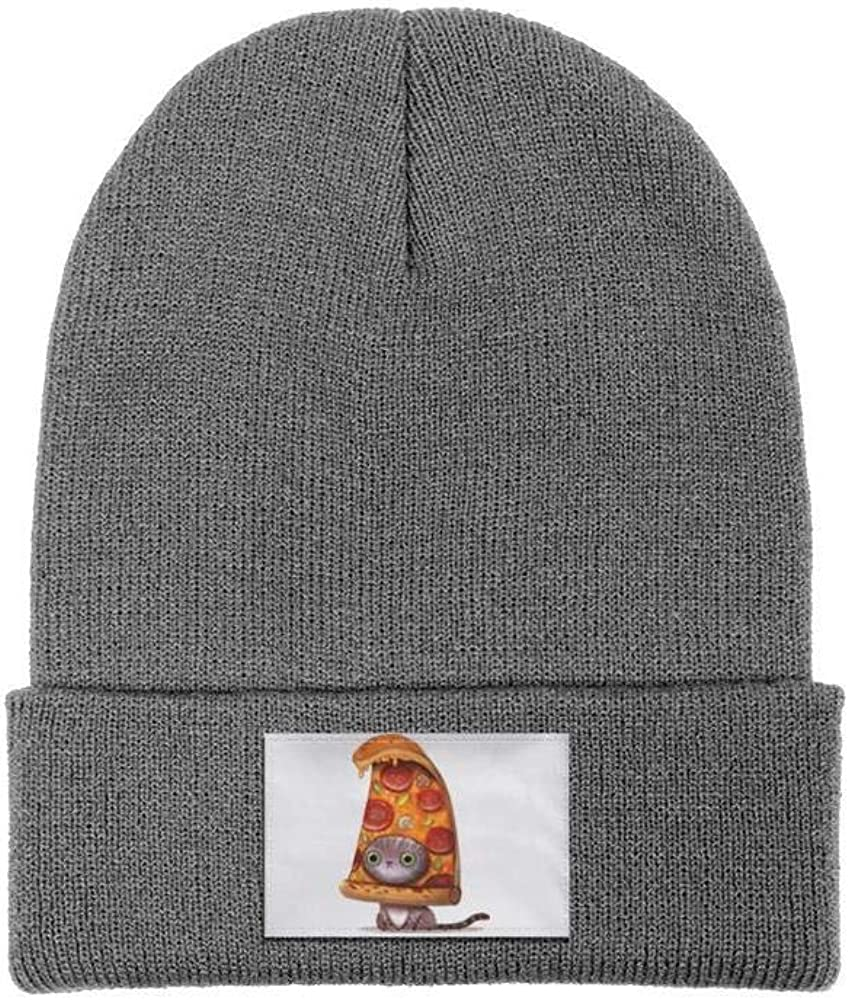 NSKJHYIp Headwear for Mens Womens Soft Solid Color Lovely Pizza Cat Knit Beanie