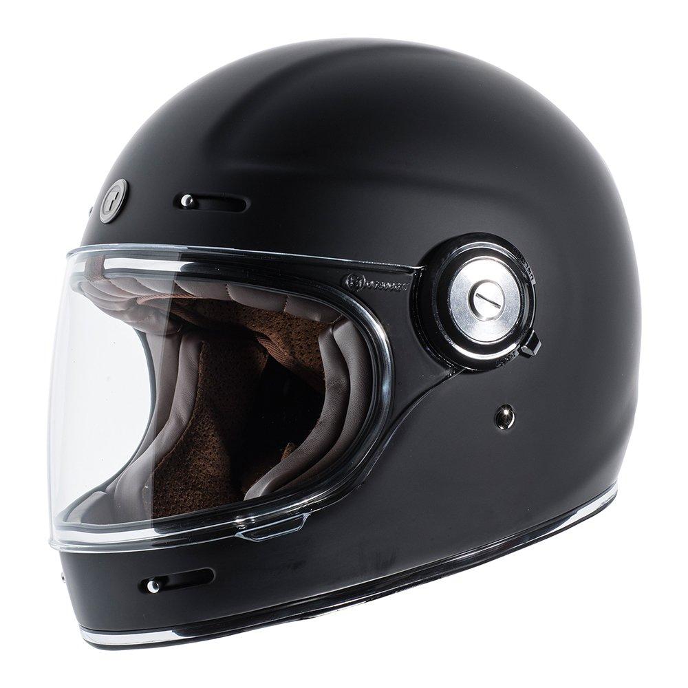 TORC Unisex-Adult T11523 Retro Fiberglass Full-Face Style Motorcycle Helmet (Matte Black, Medium), 1 Pack