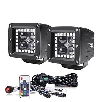 amazon com mictuning 3 12w wireless remote rgbw halos led spot rh amazon com Fog Light Wiring Harness Rigid Industries Wiring Harness