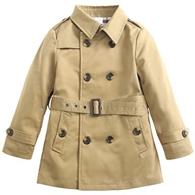 c0e3d6b5a7f9 Amazon.com  Boys Double Breasted Trench Coat Outwear With Belt  Clothing