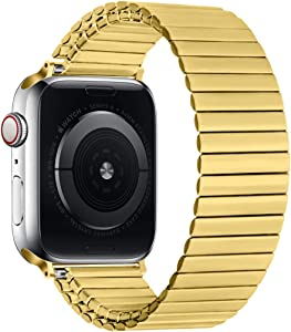 Watpro Compatible with for Apple Watch Band 42mm 44mm 38mm 40mm Stainless Steel Stretch Watch Band Metal Expansion in Brushed, Compatible with iWatch Series 6 5 4 3 2 1 SE