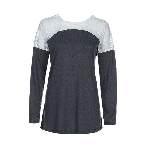 Mujer y Niña otoño fashion fiesta carnaval,Sonnena ❤ Camisa de moda para mujer con cuello redondo Blusa de encaje de manga larga con lazo camiseta ...