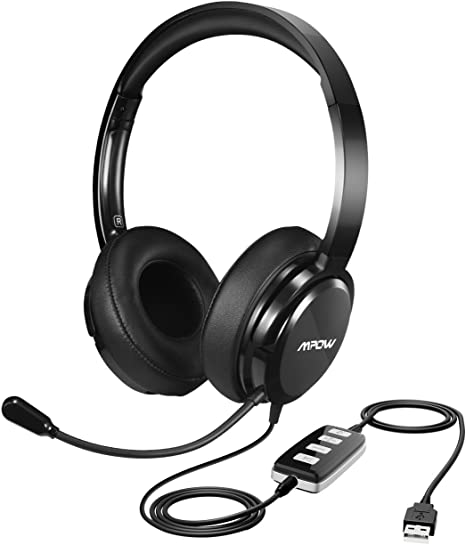 Comfort-Fits Memory Earcups in-line Control Foldable 3.5mm//USB Headphones with Retractable Noise Cancelling Mic PC Mute Function Phone Headsets for Laptop Mpow Computer Headset with Microphone