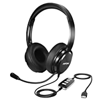 Mpow Skype Headset, USB/3.5mm PC Headset [Larger Earcup] Lightweight Computer Headphone with Microphone, Noise Cancelling Office Skype Voip Headset for Chat, Call Center, Online Conference, Webcam, Music, Mac PC Cellphone