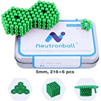 Neutronball Original Magnetic Balls 5mm 216 Pieces + 6 Spare (Green), Magnet Building Blocks Desk Toy and Fidget Toys for Stress Relief