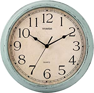 HYLANDA Wall Clock, 12 Inch Vintage Silent Retro Wall Clocks Battery Operated Non Ticking Easy to Read Decorative for Kitchen Living Room Home Office School(Aqua)