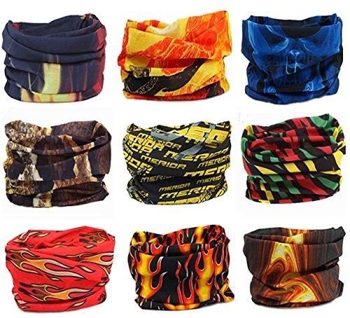 Kingree 9PCS Headbands, Outdoor Multifunctional Headwear, Sports Magic Scarf, High Elastic Headband with UV Resistance, Athletic Headwrap, Mens Sweatband, Womens Hairband (Flame (Flame Mask)
