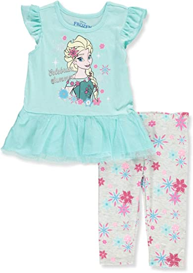Brand New Little Girls 2-Piece Rufle Tunic /& Leggings Set Frozen Elsa