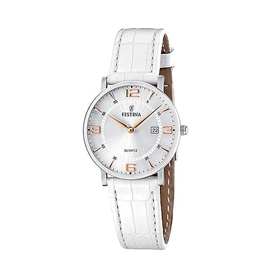 FESTINA F16477/4 - Reloj para Mujer de Cuarzo, Correa de Piel, color blanco: Amazon.es: Relojes