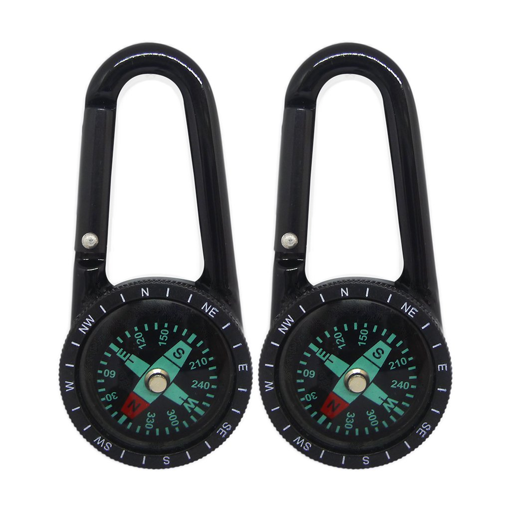 Kompass Schlüsselanhänger, faocean 2 Pcs Survival D Ring Karabiner Kompass Clip Kit mit Karabinerhaken