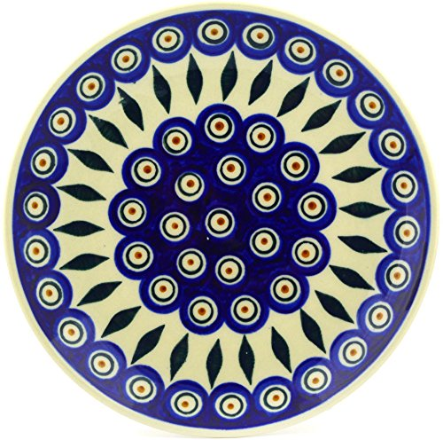 Polish Pottery Dessert Plate 7-inch Peacock by Polmedia Polish Pottery