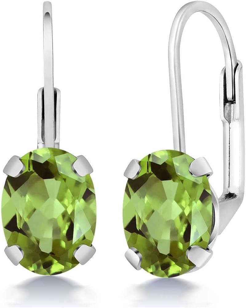 Gem Stone King 2.66 Ct Oval 8x6mm Green Peridot 925 Sterling Silver Stud Earrings