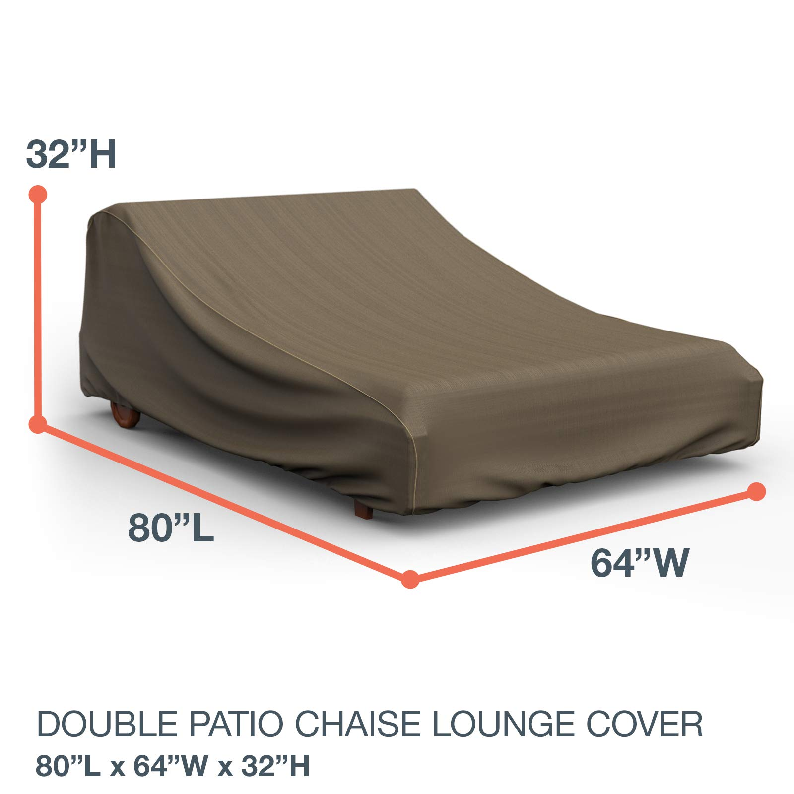 NeverWet Platinum Double Patio Chaise Lounge Cover, (Black and Tan Weave) by EmpireCovers (Image #2)