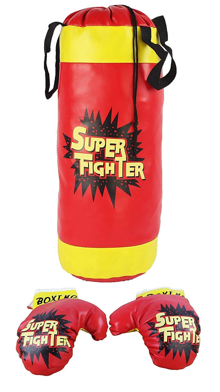 WG Toys スーパーボクシング 子供用 ごっこ遊び おもちゃ ボクシングプレイセット パンチングバッグ付き ソフトパッド入りボクシンググローブ1組 子供用
