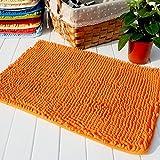 80cmx120cm High Quality Thick Shag Microfiber Chenille Anti Slip Floor Mat Doormat Bedroom Kitchen Area Rug Carpet Washable Absorbent Bath Mat 31.5x47 inches(Orange)