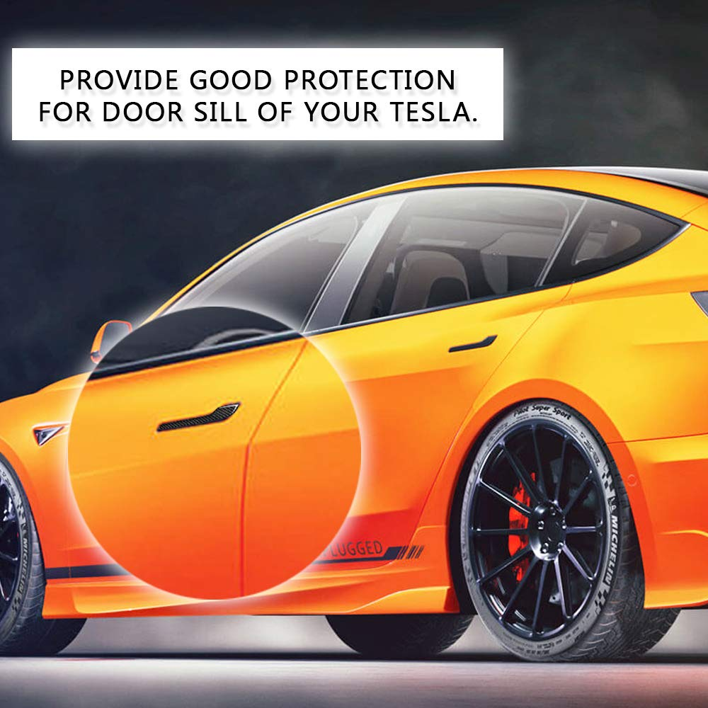 CoolKo Newest and Improved Car Door Handle Sills Protection Kit Real Carbon Fiber for Tesla Model 3 4 Pieces - Black
