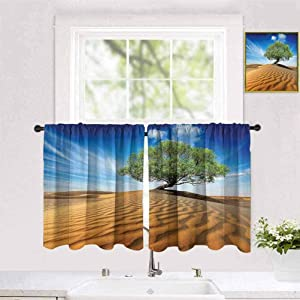 """Becanbe Polyester Curtain W 55"""" x H 71"""" for Living Room Curtains,Tree of Life,Tree in The Desert on Sand Dune Dry But Alive Nature Habitat Life Photo,Blue Cream Green"""