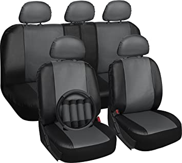 OxGord 17pc PU Leather Car Seat Cover Set