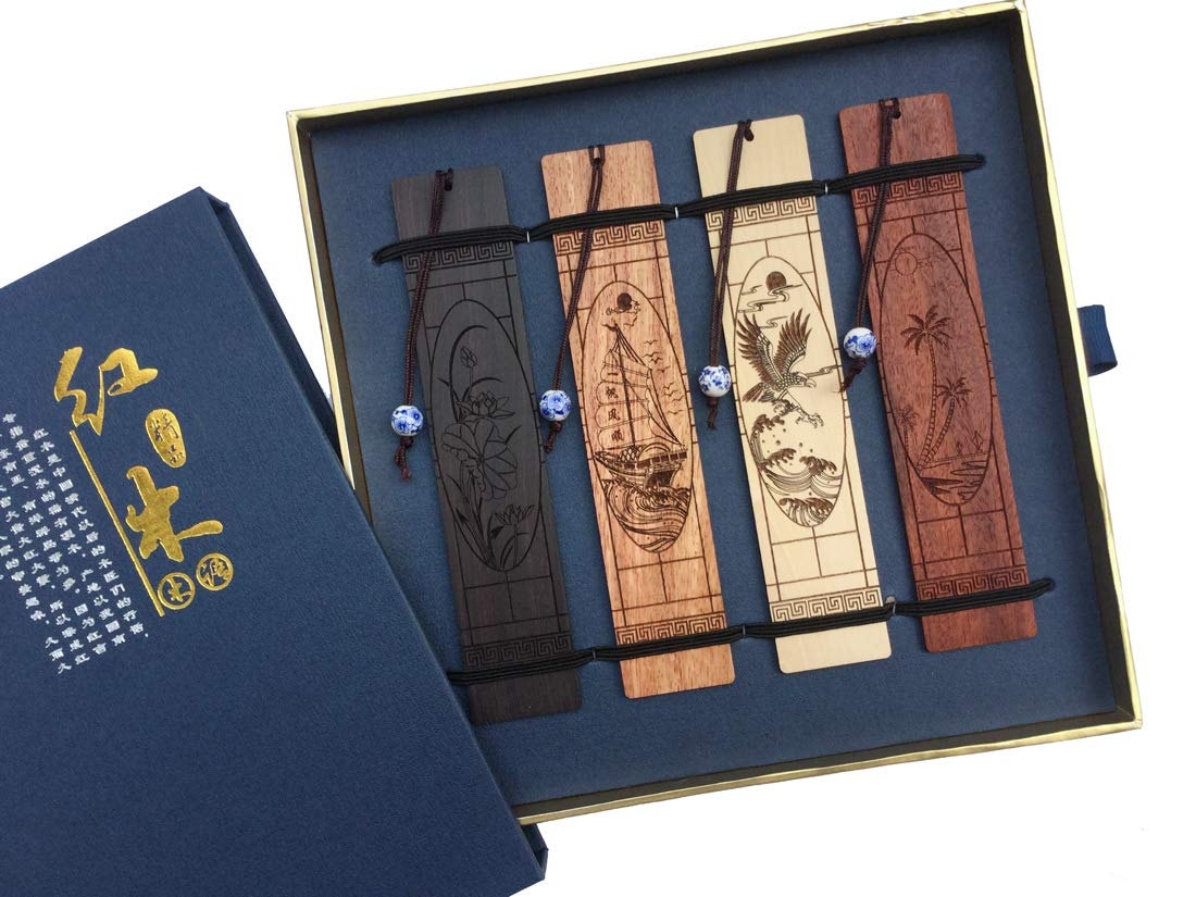 Wooden Handmade Carving Natural Wood Bookmarks - Set of 4 Bookmark (Including Box) by Melyaxu