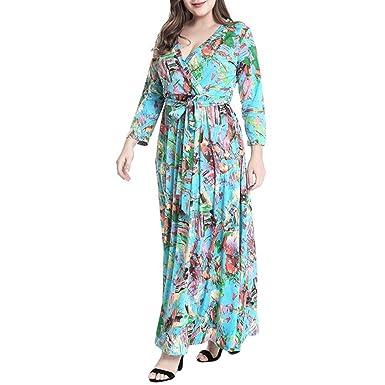 b111f918620 ishine Plus Size Kleid Damen V-Ausschnitt Sommerkleid Langarm Kleid Lang  Maxikleid A-Linie Partykleid Große Größen Cocktailkleid  Amazon.de   Bekleidung