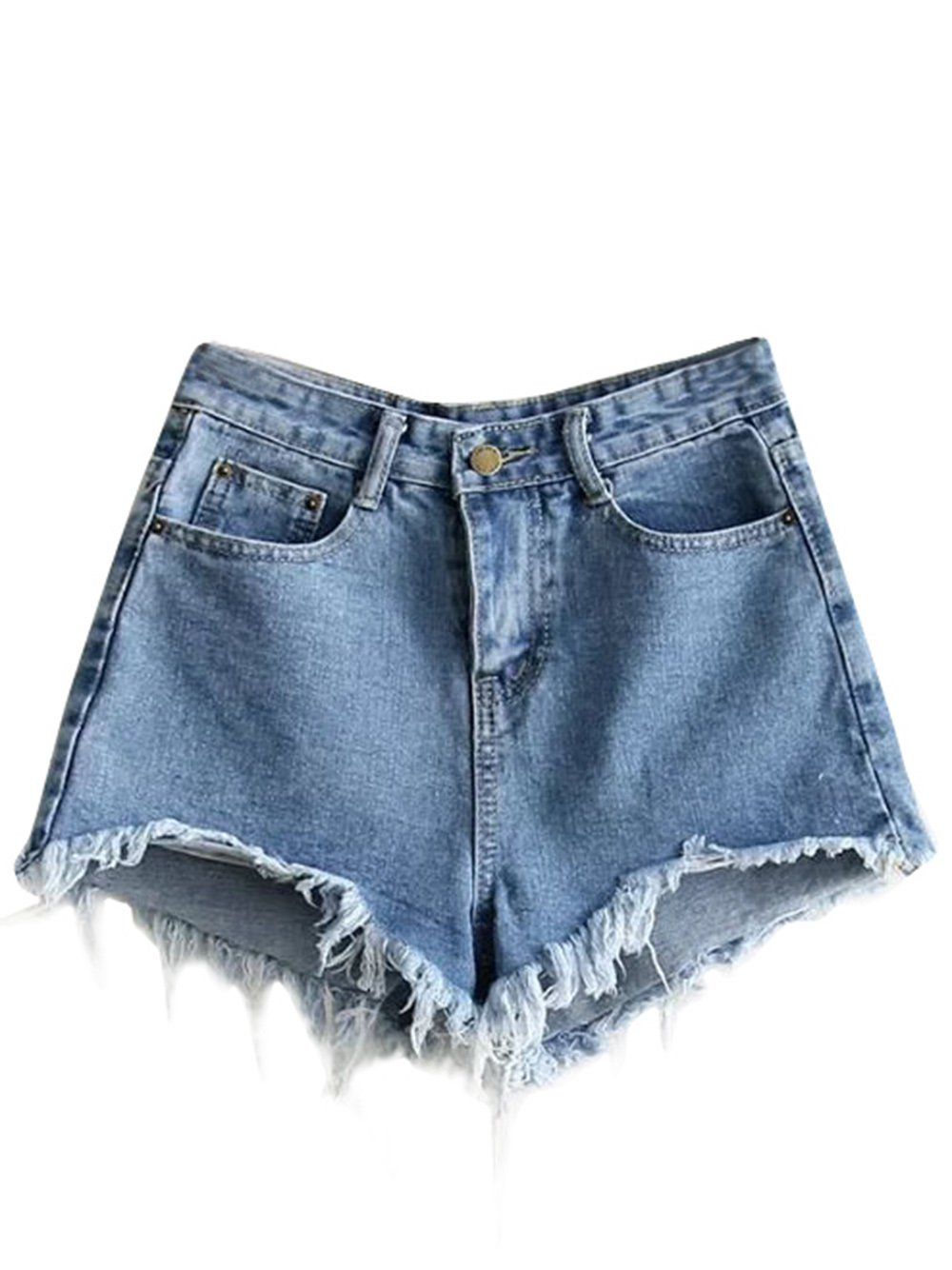 MakeMeChic Women's Cutoff Pocket Distressed Ripped Jean Denim Shorts Blue-1 L