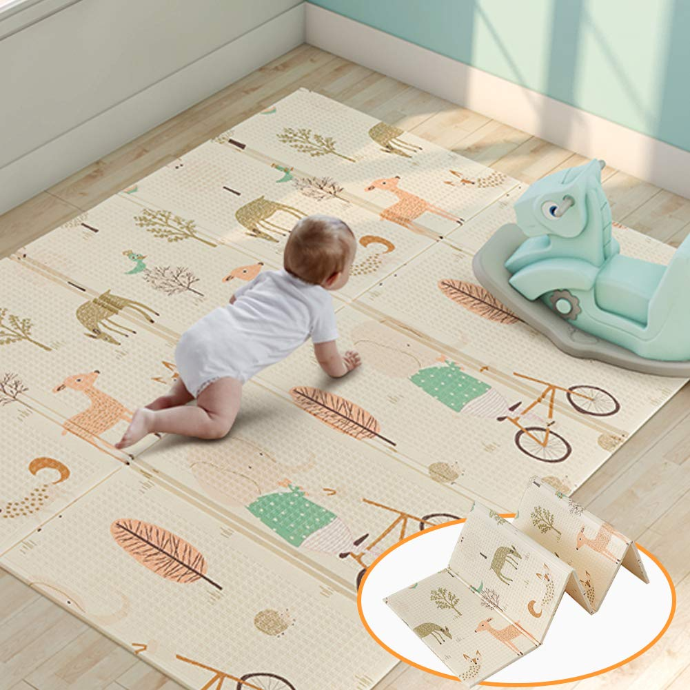 Folding Baby Play Mat Superjare Reversible Portable Foam Playmat Unisex Playroom Nursery Mat for Infants, Toddlers Kids 76.8 58