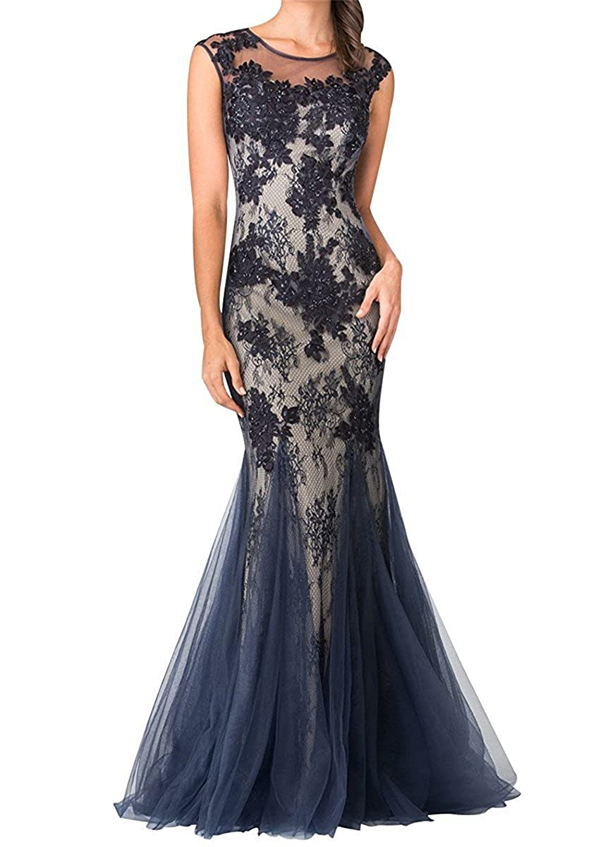 Navy bluee Yiweir Women's Mermaid Prom Dresses 2018 Long Bodycon Tulle Lace Formal Gown YP020