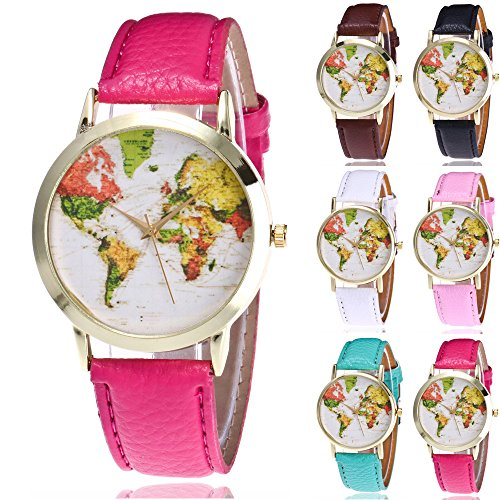 Women Map Watches COOKI Clearance Analog Female Watches on Sale Wrist Watches Leather Lady Watches-H59