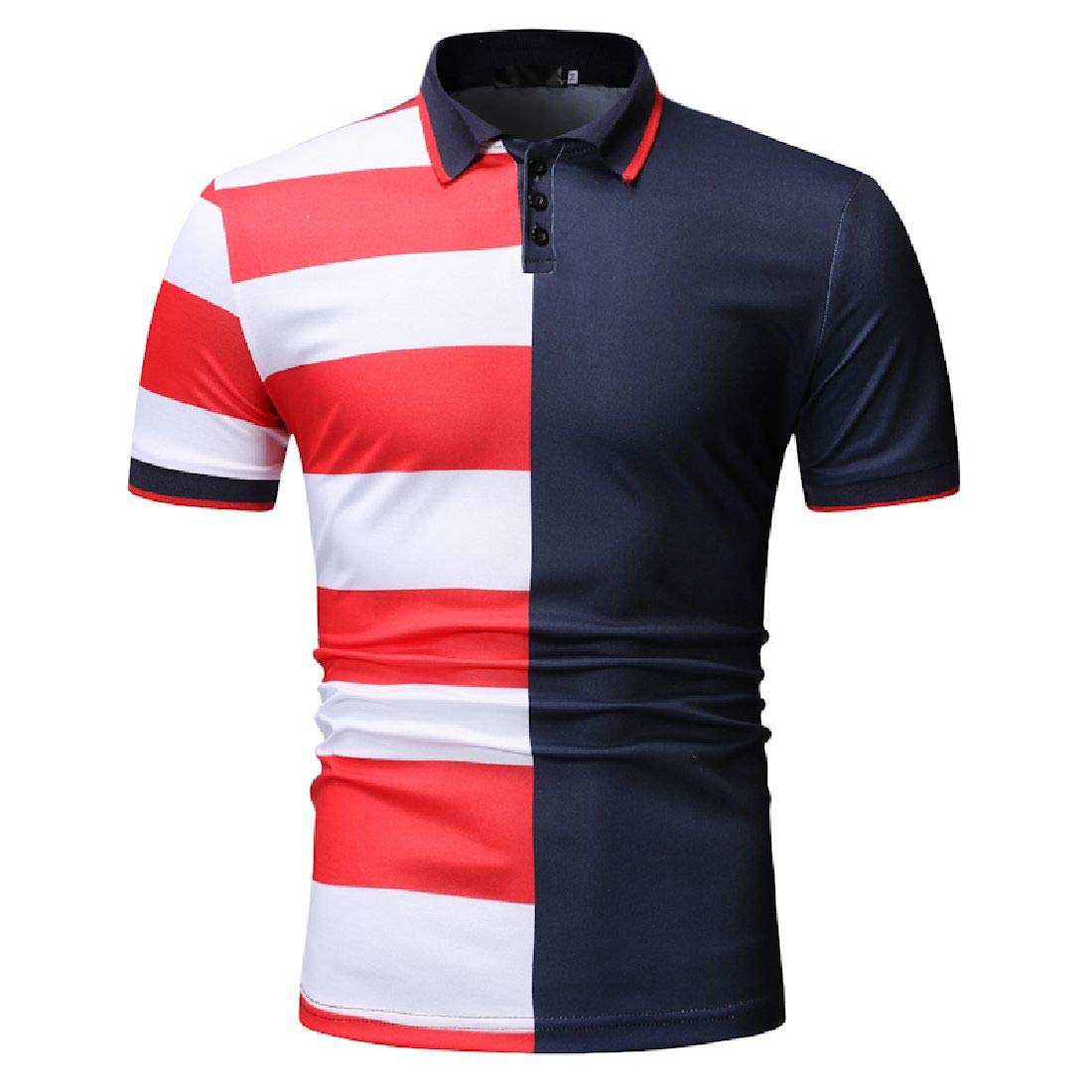 Domple Men Short Sleeve Fashion Summer Casual Business Contrast Polo Shirt