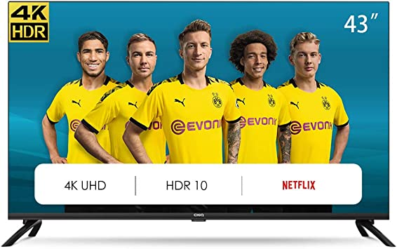 CHiQ Televisor Smart TV LED 43 Pulgadas 4K UHD, HDR 10/HLG, WiFi, Bluetooth, Youtube, Netflix, Prime Video, 3 x HDMI, 2 x USB: Amazon.es: Electrónica