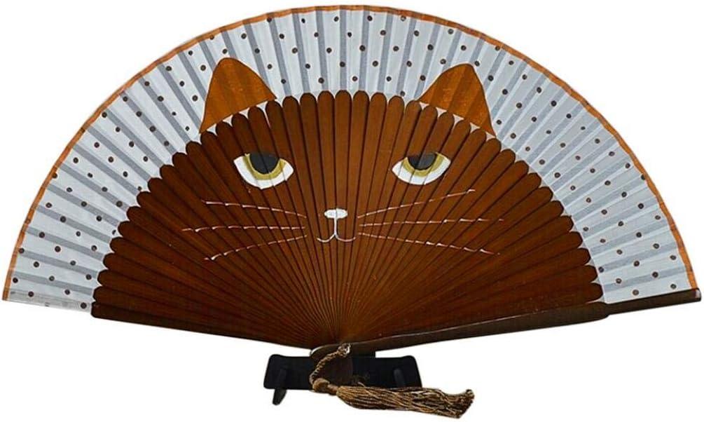 PiniceCore Nuevo Verano Lindo del Gato de Seda de bambú Pintado a Mano del Gato del Partido Abanico Plegable de Dibujos Animados del Favor de café: Amazon.es: Hogar