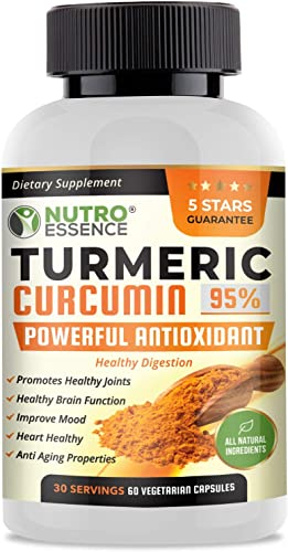 Turmeric Curcumin 95 Curcuminoids With Bioperine Capsules for Best Absorption All Natural, Highest Potency Powerful Antioxidant Dietary Supplement Joint Support, Enhance Mood Promote Wellness