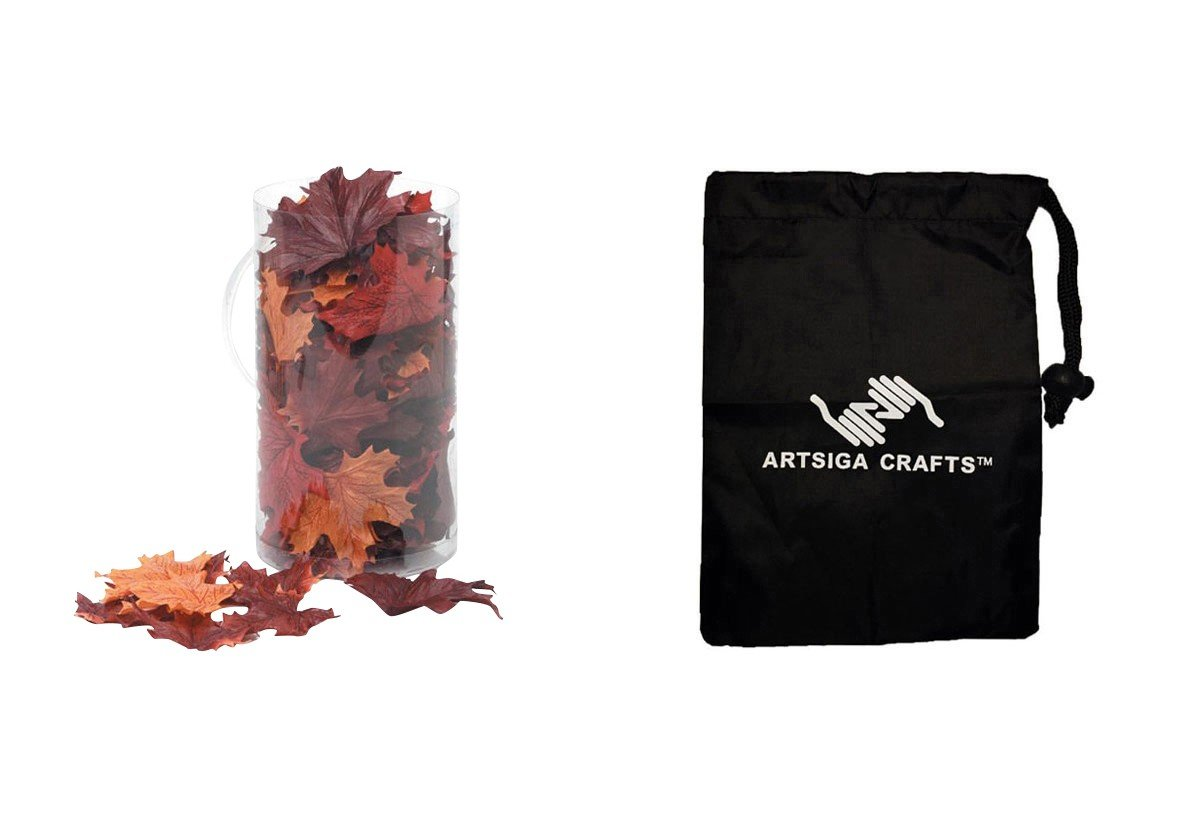 Darice Thanksgiving Maple Leaves Silk Screen Brown Mix (18 Pack) 1620 99 bundled with 1 Artsiga Crafts Small Bag by Homeline Goods Thanksgiving Decor
