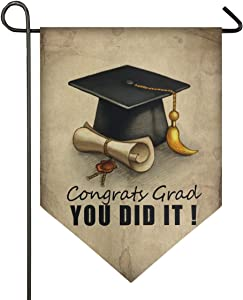 Oarencol Graduation Cap and Diploma Congrats You Did It Garden Flag Double Sided Home Yard Decor Banner Outdoor 12.5 x 18 Inch