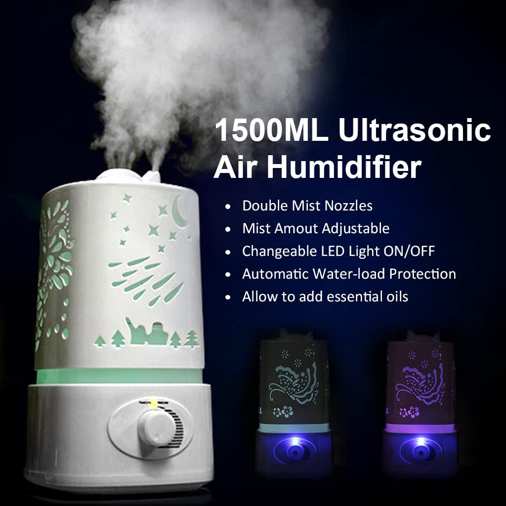 1500ML 1.5L Ultrasonic Air Humidifier, KEEDA® Diffuser