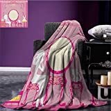 Girls travel blanket Lady Sitting in front of French Cosmetic Make-Up Mirror Furniture Dressy Design Flannel blanket Pink Yellow size:60''x80''