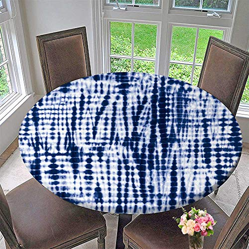 "PINAFORE HOME Elasticized Table Cover Indigo Blue tie dye textileeditable Vector Repeat Machine Washable 63""-67"" Round (Elastic Edge)"