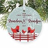 Our First Christmas as Grandma & Grandpa 1st Xmas for New Grandparents Bird Family Nana Pop-Pop Baby Newborn Round Christmas Ornament Keepsake Xmas Tree Decoration Wedding Anniversary Present