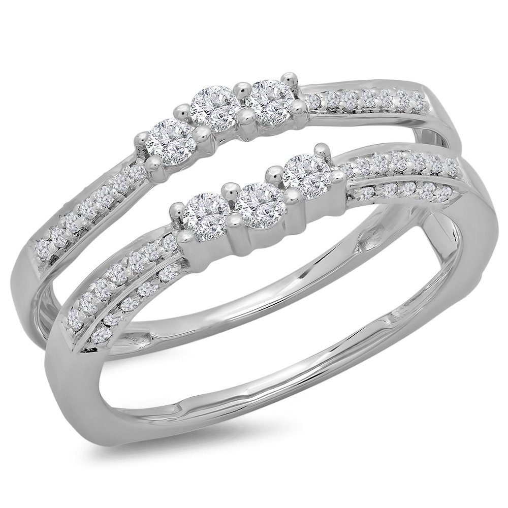 0.50 Carat (ctw) 14K White Gold Round Cut Diamond Wedding Enhancer Guard Double Ring 1/2 CT (Size 6)