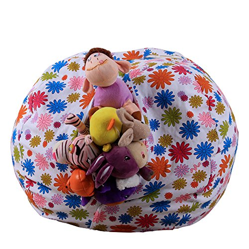 - Gbell Stuffed Animal Storage Bag | Soft Pouch Stripe Bean Bag Chair | Large Soft Animal Toy Organizer | Becomes a Jumbo Plush Pillow or Cushioned Chair,Great for Kids Boys Girls