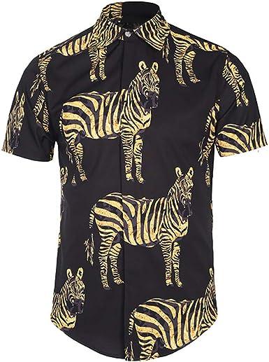 Sylar Hombre Camisa Manga Corta Slim Fit Moda Casual Personalidad Cebra Impreso Abotonar Tops Camisa M-3XL: Amazon.es: Ropa y accesorios