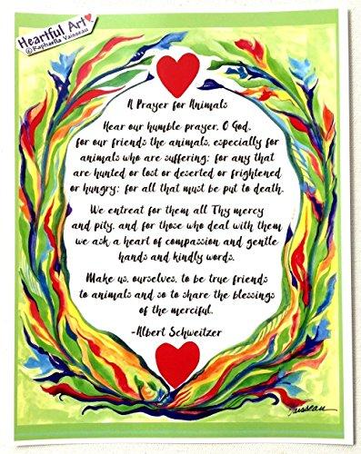 A Prayer for Animals 8x11 Albert Schweitzer poster - Heartful Art by Raphaella Vaisseau