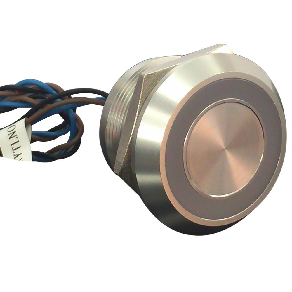 Generic Stainless Steel Latching Type Ring Illuminated 25mm Piezo Switch with 12v Blue Led
