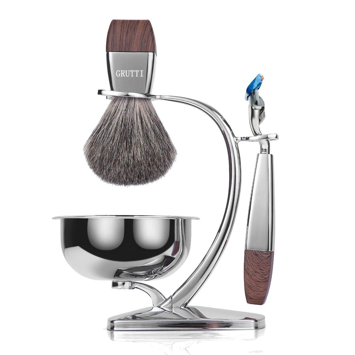 GRUTTI Premium Shaving Brush Set with Luxury Brush Stand and Brush holder for Soap Bowl and Manual Razor (Fusion 5) Kits for Men (Badger Hair Version)