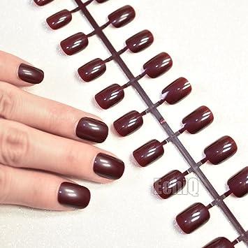 Acrylic Burgundy Nails Short