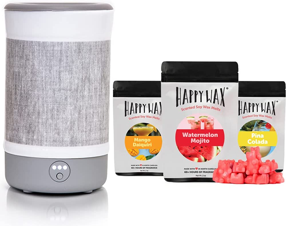 Happy Wax - Wax Warmer & Wax Melts Gift Kit - Scented Wax Melts Made with All Natural Soy Wax and Infused Essential Oils. Perfect Wax Warmer Wax Melt Gift Set. (Cocktail Mix, Gray Linen)