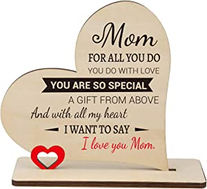 PRSTENLY Mom Wooden Heart Plaque Gifts, I Love You Mom, Engraved Heart Sign, Home Decorations Ornament, Mother's Day, Birthday, Thanksgiving Keepsake Gift for Mom 14x16CM