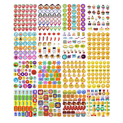 Teacher Stickers for Kids,3050 Pcs Incentive Stickers for Teacher Classroom and School Bulk Use,Reward Stickers Mega Variety Pack,16 Design Styles Including 3D Heart, Face, Star, Thumbs, Cupcake (96)