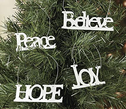 12 Pack Christmas Tree Holiday Decorations Inspiring Faith Word Ornaments Peace Hope Joy Believe Amazon Co Uk Kitchen Home