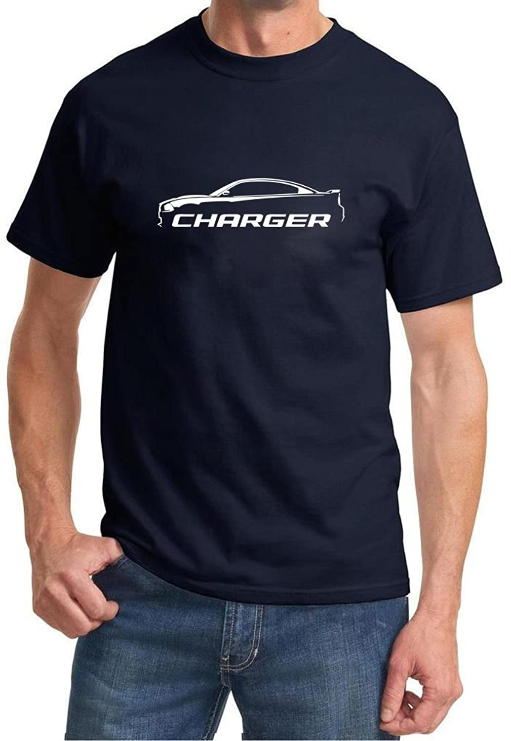 2010-14 Dodge Charger Classic Outline Design Tshirt large navy blue